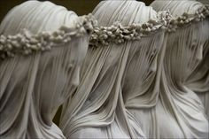 Raffaelle Monti, Veiled Virgins. Stone made gossamer,  transparent.