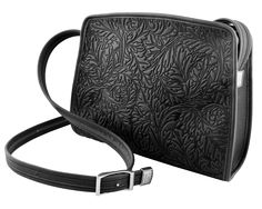 Leather Handbag | Acanthus Leaf Retro Cross Body in Black