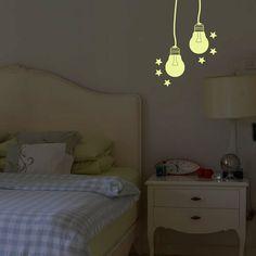 Vinilo decorativo fluorescente que brilla en la oscuridad con motivo de bombillas encendidas!