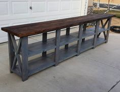 Double rustic X console with gray paint and stained wood top - Favorite Brag Posts of 2015 | Ana White
