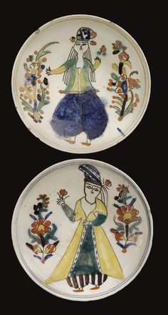 Two Kütahya figural dishes, Turkey, from the second half of Century. They are very shallow it appears and the figures are very unique and much different from dining sets that we would have today. Turkish Tiles, Turkish Art, Islamic Art Pattern, Pattern Art, Ceramic Design, Ceramic Art, Art Nouveau, Graphic Patterns, Tile Art