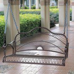 International Caravan Sun Ray Iron Porch Swing | Overstock.com Shopping - The Best Deals on Hammocks/Swings