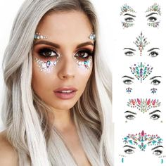 Perfect rave accessories for rave outfits, rave makeup, festivals. Body glitter and Face jewels. Look stunning and stand out from the crowd. Rave Accessories, Festival Accessories, Glitter Make Up, Body Glitter, Rave Music, Rave Halloween, Halloween Makeup, Makeup Basic, Festival Makeup Glitter