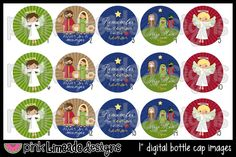 Away in a Manger - Religious Christmas Nativity - 1 inch Digital Bottle Cap Images - High Resolution Digital Collage. $2.00, via Etsy.