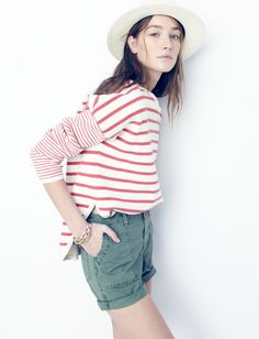 madewell cutoff fatigue shorts worn with the striped curved-hem sweater + biltmore® & madewell panama hat.