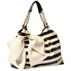 Betsey Johnson Bow Licious Tote ($118) ❤ liked on Polyvore featuring bags, handbags, tote bags, purses, borse, apparel, black white, new arrivals, black and white handbags and betsey johnson tote