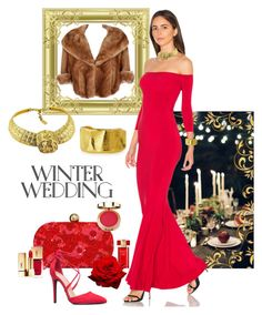 """Winter Wedding"" by jonna-hansen ❤ liked on Polyvore featuring Oleg Cassini, Estée Lauder, Santi, Jose & Maria Barrera, Norma Kamali, Yves Saint Laurent and Milani"
