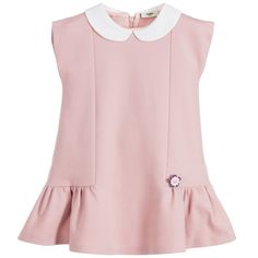 Baby girls pink viscose jersey dress by Fendi. This smart design has an ivory-coloured peter pan collar and short sleeves, with a peplum hem decorated with a floral beaded appliqué. There is a concealed back zip fastening and it is fully lined in a silky fabric.