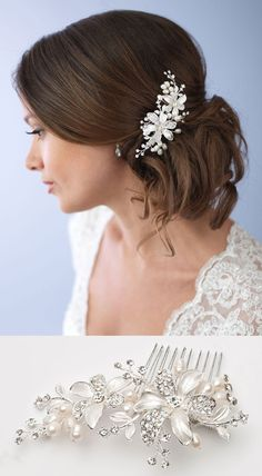 Gorgeous floral bridal hair comb with freshwater pearls and rhinestones that sparkle and shine <3