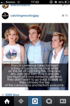 Jennifer Lawrence, Josh Hutchenson, Sam Clafin. Those 3 are the best! THG The Hunger Games Catching Fire