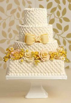 Pretty Yellow Flowers on Basket Weave Tiered Cake