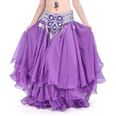 BellyLady Belly Dance Three-layer Chiffon Hemming Skirt, Tiered Maxi Skirt for only $21.99 You save: $30.00 (58%)