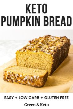 Keto Pumpkin Bread - Low Carb Keto - Ideas of Low Carb Keto - Craving pumpkin? Try this low-carb keto pumpkin bread made with coconut and almond flour. It has a delicious pumpkin flavor with cinnamon and nutmeg for spice! Top it with pecans for crunch! Cheese Recipes, Gourmet Recipes, Low Carb Recipes, Bread Recipes, Low Carb Bread, Low Carb Keto, Bread Recipe Video, Roasted Figs, Cooking Bread