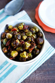 I was never a fan of brussels sprouts until about a year ago, and now I can't get enough! This is a great Fall side dish. It combines savory and sweet tastes to adhere to just about anyone's liking! Maple + Bacon = side dish WIN.