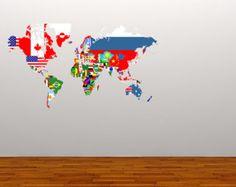 150cm monde carte Decal Wall Sticker pochoir chambre par Wallboss