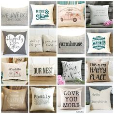 Neutral pillows with quotes