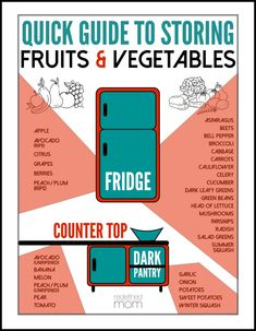 Tired of throwing produce away! No more. Use this quick guide to storing fruits and vegetables (with free printable) and never throw away an avocado again.