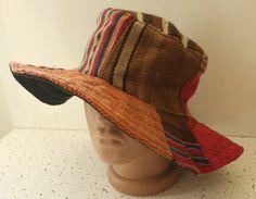 cf2fff15dc1 Ethnic woven Slouchy Hat Kente BOHO patterned Cloche hat HIPPIE hat  Bolivian sun hat PANAMA Hat