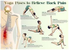 One of the best ways to have relief from lower back pain is through Hatha Yoga exercises. Yoga poses can help the symptoms and root causes of back pain. Back Yoga Stretches, Yoga Poses For Back, Yoga For Back Pain, Relieve Back Pain, Cool Yoga Poses, Low Back Pain, Easy Stretches, Yoga Exercises, Fitness Exercises