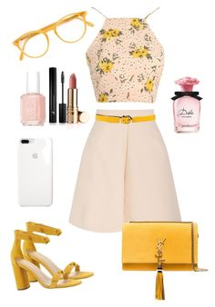 A fashion look from March 2018 featuring floral crop top, short mini skirts and heeled sandals. Kpop Fashion Outfits, Girls Fashion Clothes, Mode Outfits, Fashion Dresses, Dressy Outfits, Girly Outfits, Stylish Outfits, Elegantes Business Outfit, Mode Pastel
