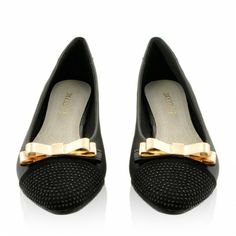 Balerinki Black Golden Bow / Obuwie damskie - www.StyloweButy.pl