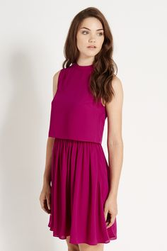 PLAIN DOUBLE LAYER DRESS | Pink | Oasis Stores