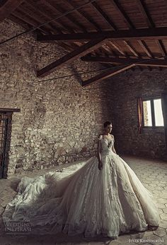 julia kontogruni 2017 bridal off the shoulders deep sweetheart neckline heavily embellished bodice princess glamorous ball gown wedding dress low back royal train (8) mv