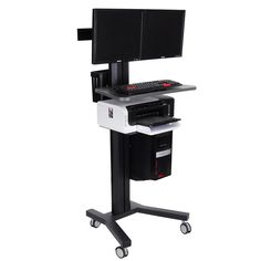 Available to hold 2 monitors(VESA 75x75 & 100x100)	    	4 wheels w/ breaks easy to slide and safe to use    	Monitor angle adjustable. Height adjustable for seating & standing position    	Printer shelf and paper storage are included