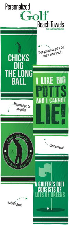Show your love for the green even at the beach with our personalized golf beach towels from ChalkTalkSPORTS.com!