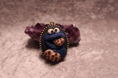 Cookie Monster Sesame Street Hand Sculpted Cameo Pendant Necklace | GeekGoddessCreations - Jewelry on ArtFire