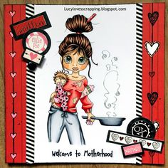 Lucy loves scrapping: Welcome to Motherhood Card (Saturated Canary image...