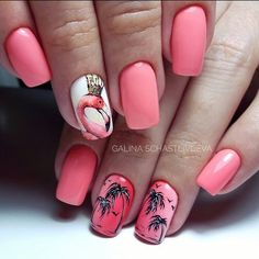There are a variety of unique nail art designs. Flamingo nail design seems to be the best trend in the current season. Flamingos on white or pink backgrounds are great nail art designs. Of course, Flamingo Nail design is not limited to this, nail art Tropical Nail Designs, Tropical Nail Art, Trendy Nails, Cute Nails, Flamingo Nails, Pink Flamingos, Flamingo Beach, Pink Manicure, Pink Nails