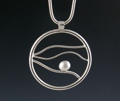 Large Round Sterling Silver Pendant Necklace by annewalkerjewelry