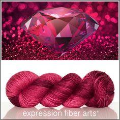 Expression Fiber Arts, Inc. - JULY RUBY SUPERWASH MERINO SILK PEARLESCENT WORSTED YARN, $30.00 (http://www.expressionfiberarts.com/products/july-ruby-superwash-merino-silk-pearlescent-worsted.html)