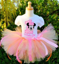 1 yr birthday outfits for girls | Girl's Minnie Mouse Birthday Tutu Set - 1st Birthday Party Outfits