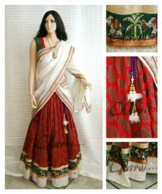 Ethnic Indian attire of Long skirt and blouse with    Long skirt made of red dhupion silk with elephant border, stone works and antique beads on border with matching red and green silk blouse. White color silk Half saree drape with bright borders .   Charvi Art Studio - woodbridge, NJ