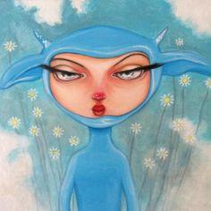 "ANGELO BARILE   "" Elfio "" ,olio su tela, cm. 30 x 30"