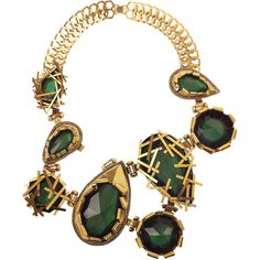 Erickson Beamon Family Jewels oversized 22-karat gold-plated Swarovski... ❤ liked on Polyvore