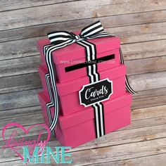 Card Holder 3 Tier Box | Gift Money Box with Card Sign Hot Pink, Black & White Stripes | Graduation | Birthday | Bridal Shower | Sweet 16 by LovinglyMine on Etsy ... Kate Spade Bridal Shower Birthday Baby Shower
