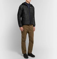 Arc'teryx Cerium Lt Slim-fit Quilted Arato 10 Nylon Hooded Down Jacket In Black Hoods, Khaki Pants, Shell, Trousers, Mens Fashion, Jackets, Shopping, Clothes, Collection