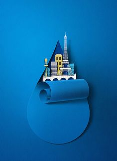 Eiko Ojala created an illustration for the cover of Paris Worldwide, the Paris airports magazine. 3d Paper Art, Paper Artwork, Paper Crafts, Kirigami, Pop Art Design, Web Design, Paper Cutting, Color Concept, Eiko Ojala