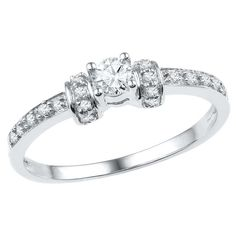 1/4 CT. T.W. Round Diamond Prong Set Promise Ring in 10K White Gold