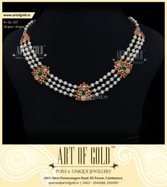 Designer #Pearl Necklace with 3 strands of pearls accentuated by Antique Kemp Motifs. Click to Buy.