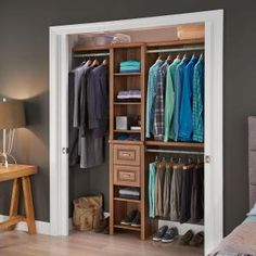 W. Dark Cherry Narrow Closet Kit & This ClosetMaid Impressions Closet Kit helps increase the usable ...