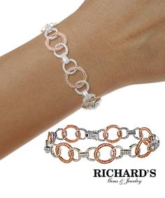 White and rose gold circle bracelet
