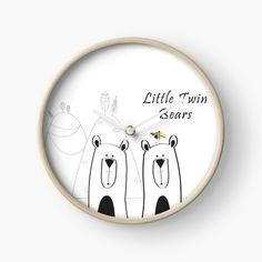 'Copy of Little Twin Bears' Clock by Melikar Modern Prints, Art Prints, Quartz Clock Mechanism, Hand Coloring, Floor Pillows, Wall Tapestry, Duvet Covers, Bears, Twins