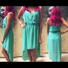 High low teal dress High low. Perfect condition. Non-adjustable straps. Stretchy waist line. Forever 21 Dresses