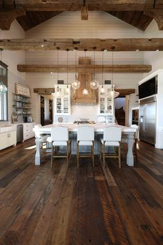 Kitchen Interior Rustic Kitchen Rustic Kitchen Gorgeous textures were added to this rustic kitchen with reclaimed wood floors, shiplap walls, reclaimed beams and reclaimed barn wood Texas Farmhouse, Farmhouse Interior, Home Interior, Interior Design Kitchen, Rustic Farmhouse, Pantry Interior, Farmhouse Design, Kitchen Designs, Rustic House Design