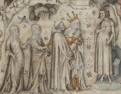 Guillaume Machaut receiving Nature and three of her children. From an illuminated Parisian manuscript of the 1350s
