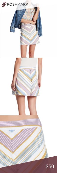 Free People Yours Truly Skirt Ivory Combo chevron pattern color skirt from Free People. New with tags. A line mini skirt. Back zip with button tab closure. Lined. Size 12 Free People Skirts Mini